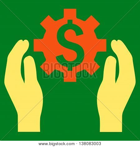 Financial Insurance Options vector icon. Style is bicolor flat symbol, orange and yellow colors, green background.
