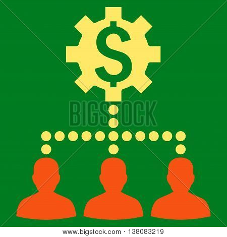 Industrial Bank Clients vector icon. Style is bicolor flat symbol, orange and yellow colors, green background.