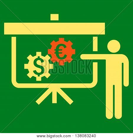 International Banking Project vector icon. Style is bicolor flat symbol, orange and yellow colors, green background.
