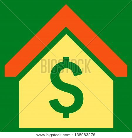 Loan Mortgage vector icon. Style is bicolor flat symbol, orange and yellow colors, green background.