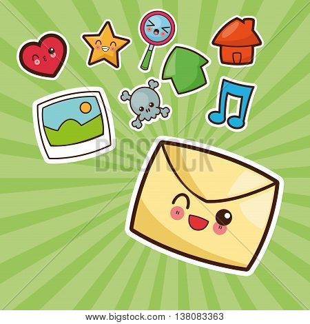 Technology and social media concept represented by kawaii emal icon. Colorfull and flat illustration.