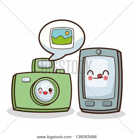 Technology and social media concept represented by kawaii camera and smartphone icon. Colorfull and flat illustration.