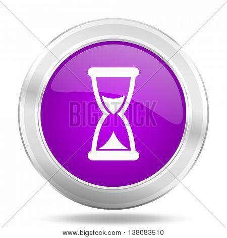 time round glossy pink silver metallic icon, modern design web element