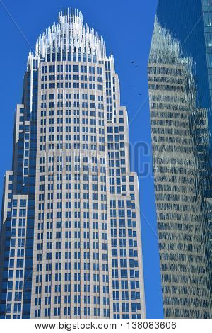 CHARLOTTE NORTH CAROLINA JUNE 20 2016: The Bank of America Corporate Center is the tallest building in both the Carolinas, and the tallest between Philadelphia and Atlanta