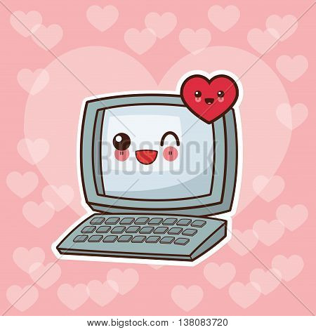 Technology and social media concept represented by kawaii laptop and heart icon. Colorfull and flat illustration.
