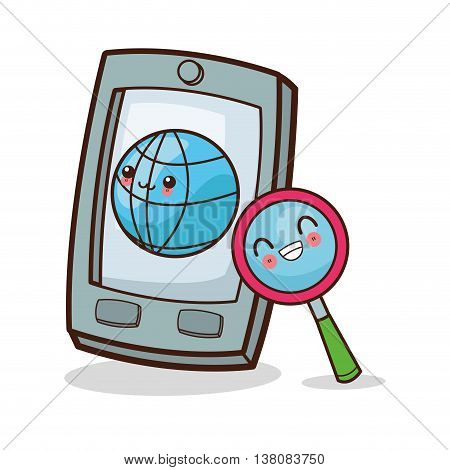 Technology and social media concept represented by kawaii smartphone icon. Colorfull and flat illustration.