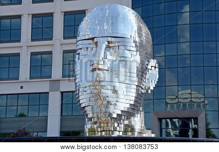 CHARLOTTE NORTH CAROLINA USA JUNE 20 2016: Metalmorphosis is a mirrored water fountain by Czech sculptor David Cerny that was constructed at the Whitehall Technology Park in Charlotte, NC.