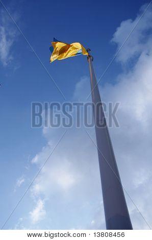 Ukrainian flag on the blue