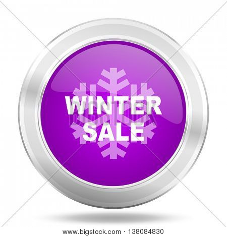winter sale round glossy pink silver metallic icon, modern design web element
