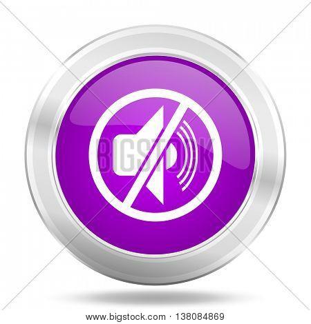 mute round glossy pink silver metallic icon, modern design web element