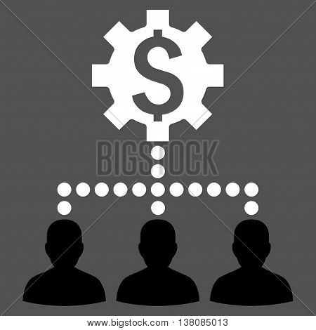 Industrial Bank Clients vector icon. Style is bicolor flat symbol, black and white colors, gray background.
