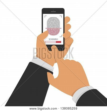 Vector illustration of identification of fingerprint on smartphone in flat style. Concept of illustration of identification of the user on a fingerprint in the mobile phone. Scannings of a fingerprint