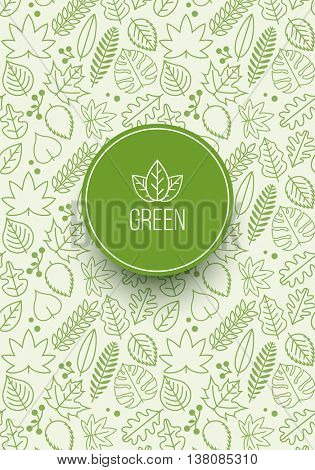 Vector seamless pattern design with various green line leaves. Global colors. Ideal for your cover design, poster design or textile designs.