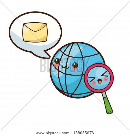 Technology and social media concept represented by kawaii global sphere icon. Colorfull and flat illustration.