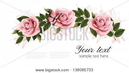 Flower frame with beauty pink roses. Vector.