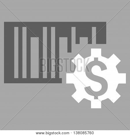 Barcode Price Setup vector icon. Style is bicolor flat symbol, dark gray and white colors, silver background.