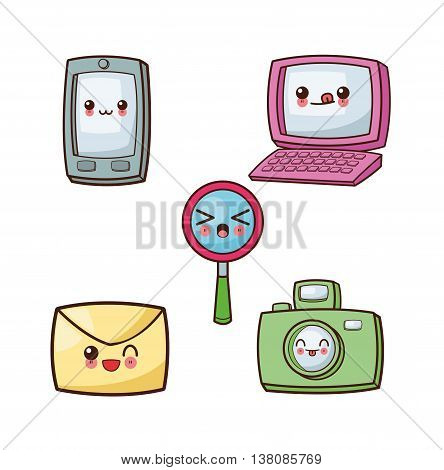 Technology and social media concept represented by kawaii cartoon icon set. Colorfull and flat illustration.