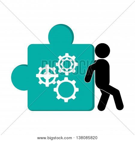 flat design person pushing puzzle piece with gears icon vector illustration