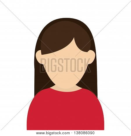 flat design faceless woman with long hair portrait icon vector illustration