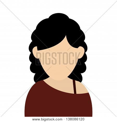 flat design faceless woman with curly hair portrait icon vector illustration