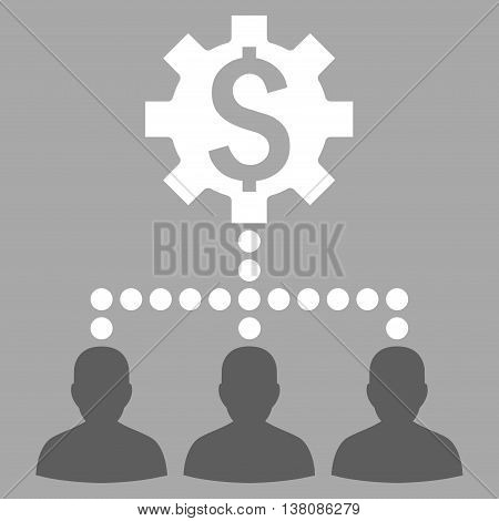 Industrial Bank Clients vector icon. Style is bicolor flat symbol, dark gray and white colors, silver background.