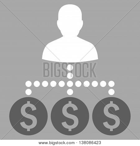 Money Collector vector icon. Style is bicolor flat symbol, dark gray and white colors, silver background.