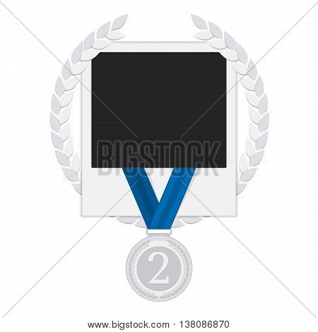 Template frame for a photo with a laurel wreath and a silver medal winner. Photo Frame winner. Stock Photo Frame winner, competition. Concept design album . Illustration in a flat style. Second place.