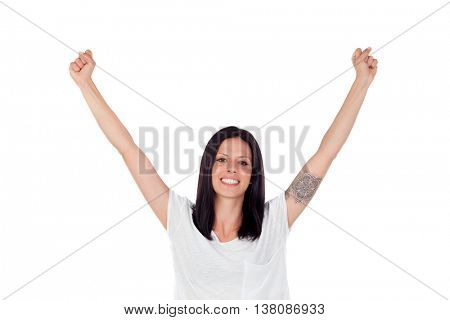 Excited brunette woman celebrating a triumph - isolated over a white background