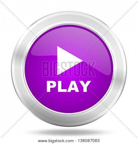 play round glossy pink silver metallic icon, modern design web element