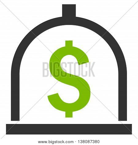 Dollar Deposit vector icon. Style is bicolor flat symbol, eco green and gray colors, white background.