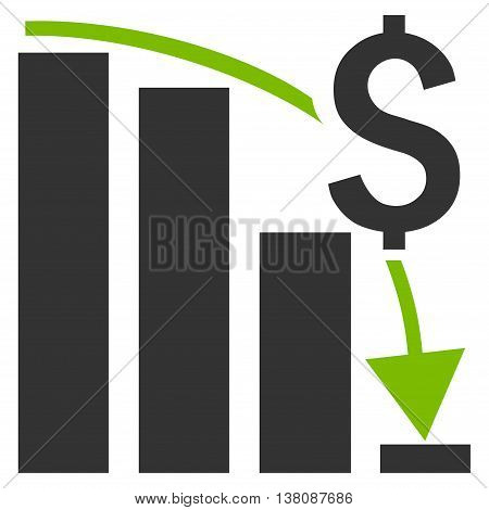 Financial Crisis vector icon. Style is bicolor flat symbol, eco green and gray colors, white background.