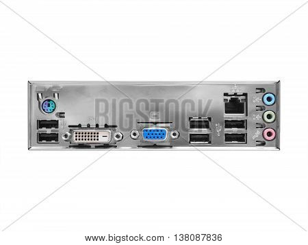 Set of rear panel computer with audio usb ethernet and other connectors isolated on white background