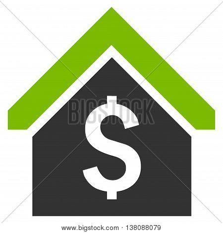 Loan Mortgage vector icon. Style is bicolor flat symbol, eco green and gray colors, white background.