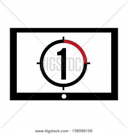 flat design film leader countdown icon vector illustration