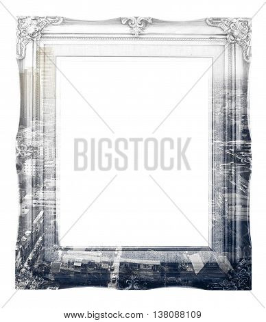 Double Exposure Of Vintage Photo Frame And Black And White City Landscape View Isolated On White Bac