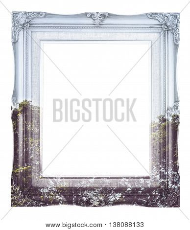 Double Exposure Of Vintage Photo Frame And Tree Landscape View Isolated On White Background, Double