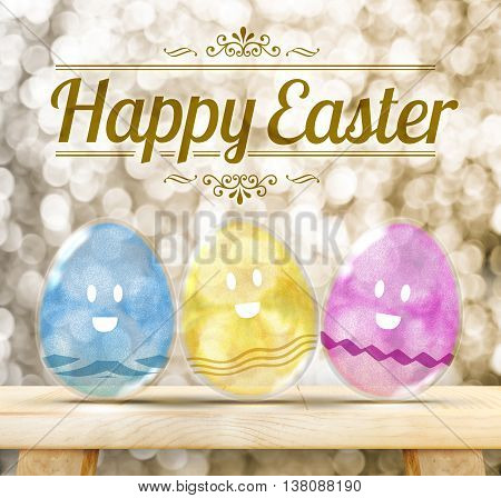 Happy Easter Day : Three Colorful Glitter transparency glass egg with smile face on wood table with golden sparkling background.(3d rendering)