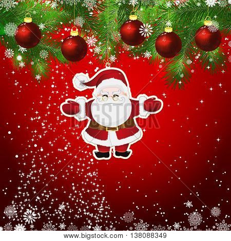 New Year design background. Template card whit red Christmas balls on the green branches . Silhouette of a Christmas tree made of stars. Falling snow. Toy decorative Santa Claus.
