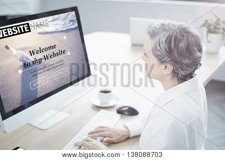 Composite image of build website interface against woman using her computer