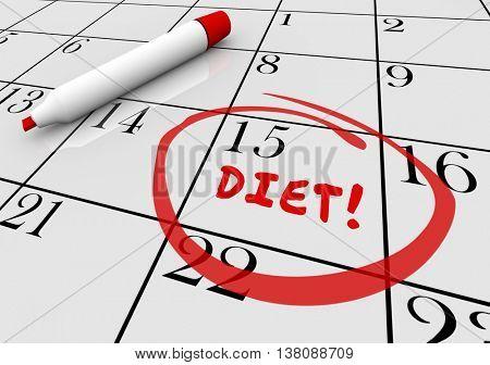 Diet Start Begin Eat Healthy Lose Weight Calendar 3d Illustration