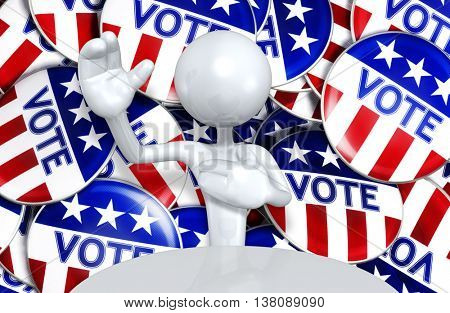 United States Of America U.S. Election Concept 3D Illustration