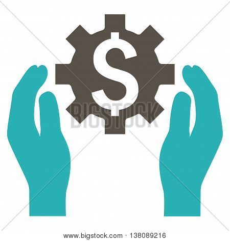 Financial Insurance Options vector icon. Style is bicolor flat symbol, grey and cyan colors, white background.