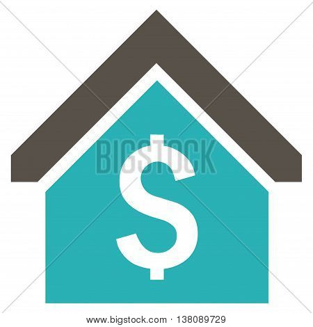 Loan Mortgage vector icon. Style is bicolor flat symbol, grey and cyan colors, white background.