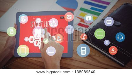 Smartphone apps icons against over shoulder view of hipster woman using tablet