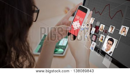 Smartphone apps icons against a woman is using her smartphone