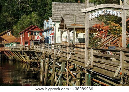 The famous historic Creek Street formerly brothels home of the famous Dolly the madam in Ketchikan Alaska. A popular tourist shopping destination especially for cruise ships.