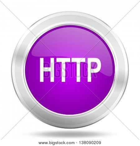 http round glossy pink silver metallic icon, modern design web element