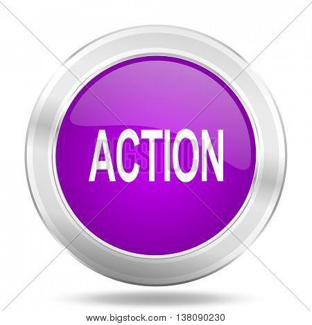 action round glossy pink silver metallic icon, modern design web element