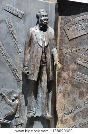 COLUMBIA SOUTH CAROLINA USA JUNE 23 2016: Details of monument to the African-American history from the Middle Passage, to the fight for freedom in the Civil War by Ed Dwight of Colorado