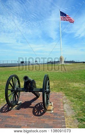 CHARLESTON SOUTH CAROLINA 06 25 2016: Cannon Fort Sumter is a sea fort in Charleston notable for 2 battles of the American Civil War. was one of a number of special forts planned after the War of 1812